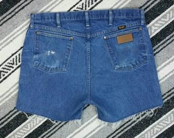 """Frayed Wrangler High Waisted Blue Jean Denim Cut Off Shorts size 18/XL (waist 36"""")"""