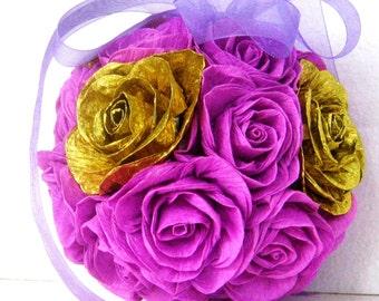 Gold lilac lavender Crepe Paper kissing ball Flowers  Wedding decor baby shower Wedding Table Flower Girl Pomander kissing ball CENTERPIECE
