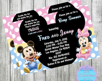 baby minnie mouse and mickey mouse baby shower invitation for twins