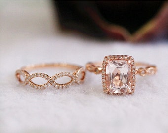 New! 7x9mm Morganite Engagement Ring In 14K Rose Gold Cushion Cut Morganite Diamond Ring Wedding Ring Gemstone Ring with diamond band SetSet