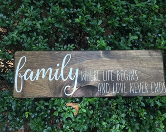 family sign - family signs - family wooden sign -