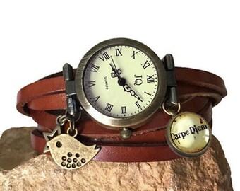 wrap Around Watch ,leather Wrap Watch ,watch women,brown Leather Wrap Watch ,carpe diem / bird
