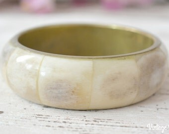Vintage Original Bone and Brass Bangle