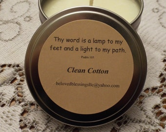 Clean Cotton 8 oz Soy Candle Tin