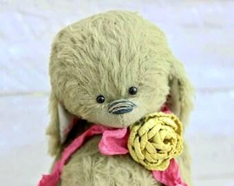 """Stuffed bunny.""""BUNNY"""".Bunny. Stuffed rabbit.Rabbit.Teddy Bear.Vintage teddy.Old teddy.Torture teddy.Artist teddy.Teddy"""