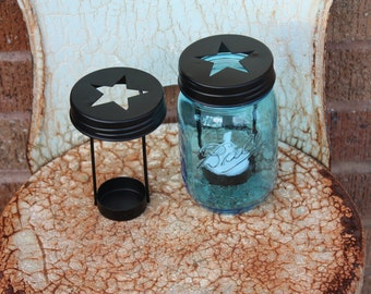 Star Cutout Tea Light Candle Holder Lid for Regular Mouth Mason Jars - Jar sold separately