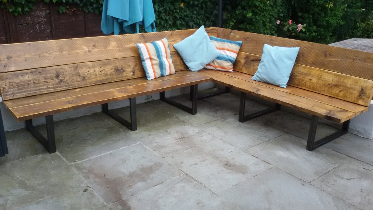 Reclaimed Scaffold Board & Steel Corner Bench