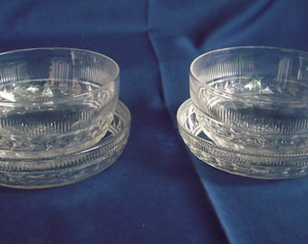 Pair (2) antique cut and pressed glass finger bowls and matching under plates, great holiday gift and for entertaining