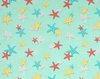 9.95 Yard - Michael Miller Sea Buddies A Sea of Stars Seafoam - Nautical Cotton Fabric
