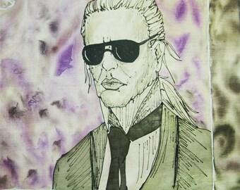 Karl Lagerfeld silk scarf, batik silk, gift for her, Ilona tuu Silk, Fashionista scarf, fashion statement scarf, Spring scarf