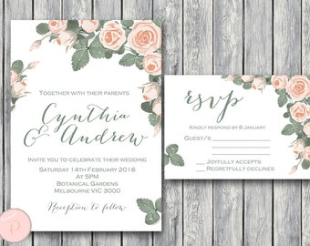 Custom Wedding Invitation Set, Wedding Invitation Printable, Bridal Shower, Baby Shower, Personalized, Wedding Invitation Suite th03 WD15