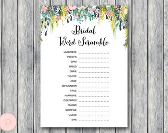 Bridal Word Scramble Bridal Shower Game, Unscramble, Bridal shower game, Bridal shower activity, Printable Game WD71 TH17
