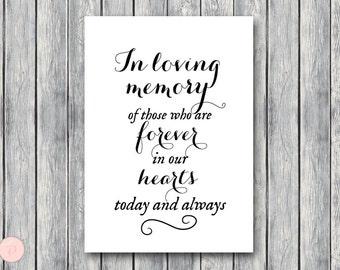In Loving Memory Wedding Sign, In Loving Memory Sign, In Loving Memory Wedding, Wedding In Memory Sign TH00