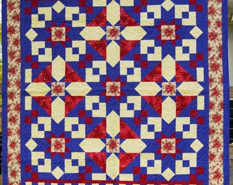 Red Beige and Blue Handmade Throw Quilt