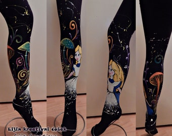 Alice in Wonderland Tights, Lucifer Tights, Colorful Leggings, Magical Leggings, Painted Tights