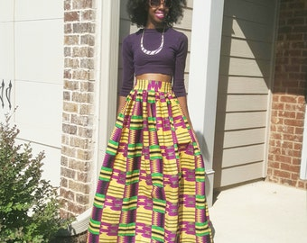 Purple with Green/Yellow Kente Ankara African Print Maxi Skirt (XS - 6XL) Plus Size Too