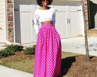 Polka Dot Maxi Skirt (Several Colors)