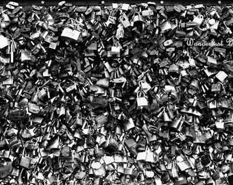 Paris Bedroom Decor, Black & White Photography, Abstract Art, Modern, Paris Wall Art, Paris Photography, Romantic, Love Locks Photography