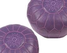 Set of 2moroccan  poufs  , ottoman leather  pouf ; footstool , purple  ottoman poufs; handmade poofs