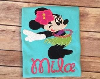 Hula Minnie applique shirt