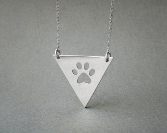 Triangle Plate Paw Necklace / Paw Print Necklace / Silver, Gold Plated or Rose Plated.