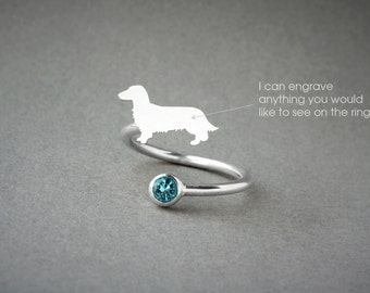 Adjustable Spiral DACHSHUND LONGHAIRED  BIRTHSTONE Ring / Doxie Longhaired Birthstone Ring / Dachshund Ring / Dog Ring