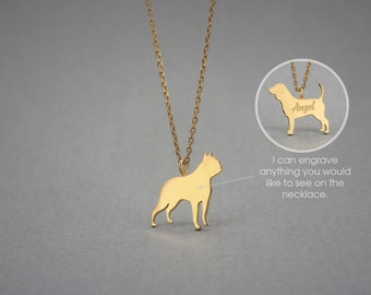 14K Solid GOLD Tiny BOSTON TERRIER Name Necklace - Boston Terrier Necklace -Gold Dog Necklace - 14K Gold or Rose Plated on 14k Gold Necklace