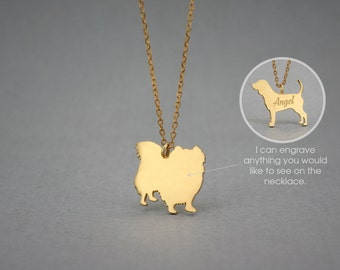 14K Solid GOLD Tiny PEKINGESE LONGHAIRED Name Necklace - Pekingese Necklace - Gold Dog - 14K Gold or Rose Plated on 14k Gold Necklace