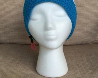 Blue and White Crocheted Beanie