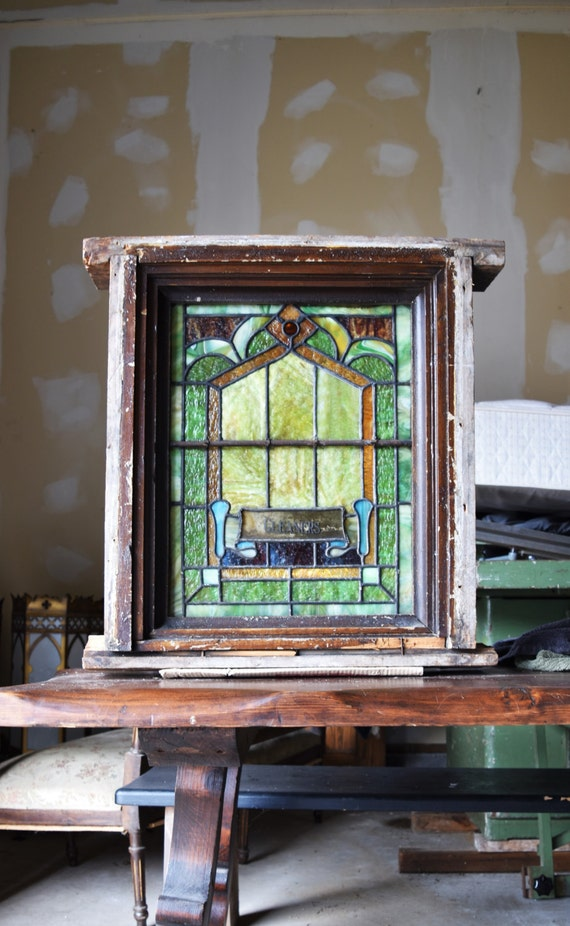 Items similar to early 1900s antique stain glass window on for 1900 stained glass window