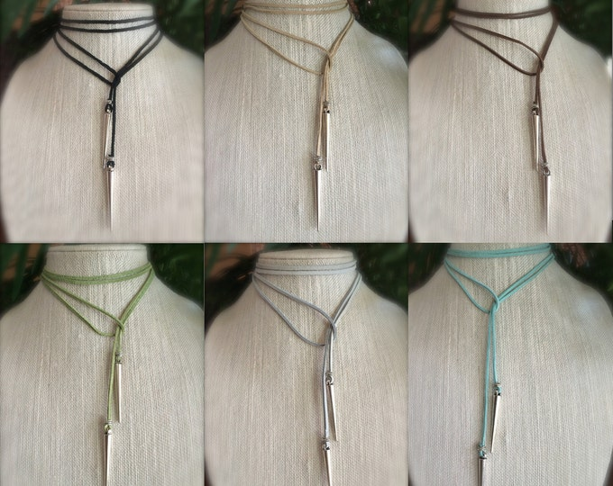 Leather Choker Necklace Leather Vegan Suede Lariat Boho Festival Jewelry Minimalist Wrap Tie Long Necklace Blue Green Brown Tan Red Pink