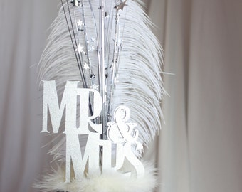 Wedding Cake Topper Mr. & Mrs. Gatsby Silver and White Ostrich Feather, Gatsby, Roaring 20s, 1920s, Vintage Look, overthetopcaketopper