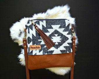 Aztec woven crossbody bag, genuine leather crossbody purse, leather crossbody,tribal crossbody, fall crossbody,fall purse,fall