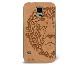 Genuine Wood Cell phone Case with Hand Drawn Tribal Lion King of the Jungle Laser Engraving for Galaxy S5, S6 and S6Edge S-053
