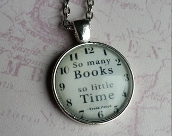 Book Pendant,  So Many Books Necklace, So Many Books Pendant, Frank Zappa, So Little Time Necklace, Frank Zappa Gift, Silver Book Pendant,