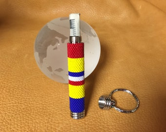 Hidden Compartment Keychain with Peyote Beaded Combact Action Ribbon