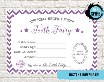 INSTANT DOWNLOAD |  Tooth Fairy Receipt |  Tooth Fairy Letter | Tooth Fairy Note |  Lost Tooth Receipt | Lost Tooth Certificate