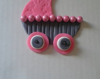 Baby carriage fondant cake or cupcake toppers