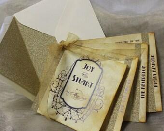 Vintage Wedding Invitation with Gold Glitter Detail