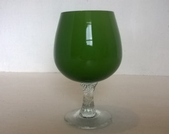 Brandy glass, mid century green cased glass small brandy snifter, small