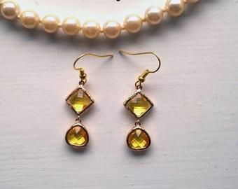 Yellow Drop Earrings Citrine Earrings Yellow Earings yellow bezel earings bezel earrings gold yellow earrings lemon earrings glass earrings