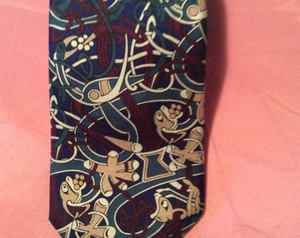 Boxelder  Book of Kells Fish and Celtic Knots Silk Necktie