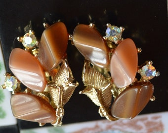Thermoset Brown Clip on AB Earrings - Shiny!