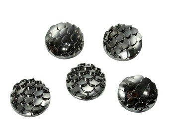 10mm Mermaid Cabochon Mermaids Tail Cabochons Dragon Egg Scales Fish Scale Resin Kawaii Cabs Gunmetal Deco Earring Findings Jewelry Supply