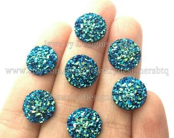 12mm Iridescent Blue Faux Druzy Cabochon Resin Cabochons Druzy Studs Fits 12mm Bezel Stud Earrings Druzy Post Earring DIY Druzy