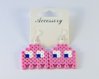 Light Pink Pacman Ghost Hama Bead Earrings.