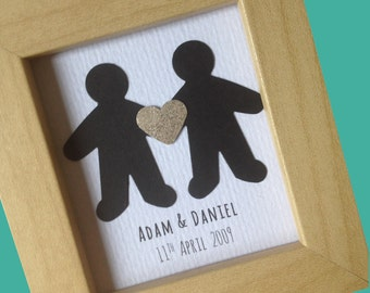 Personalised Gay Couples Wedding Gift:  Choose your own wording