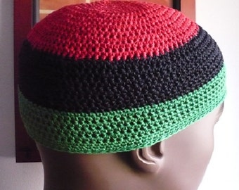 Only One Of Each Sizes Left! Red-Black-Green Crochet Kufi with Double #10 Thread