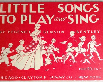 Little Songs To Play And Sing Children's Music Book 1935