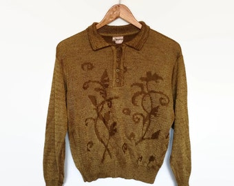 vintage golden knitted sweater, floral design, gold long sleeve button up pullover, grunge collared shirt
